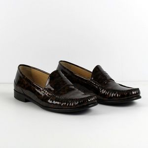 Cole Haan Patent Leather Leopard Penny Loafer, 9.5